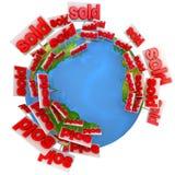 Verkoop van onroerende goederen rond de wereld Stock Afbeeldingen