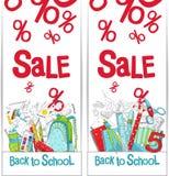 Verkoop van schoolgoederen Promotie het bureaulevering van bevorderingskortingen Vector illustratie op witte achtergrond Webbanne royalty-vrije illustratie