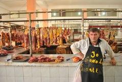 Verkoop van vlees in markt van Batumi, Georgië Stock Afbeelding
