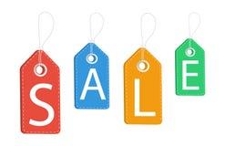 Verkoop Voorzie etiketten Korting op alle producten Ver*kopen-uit Vector illustratie royalty-vrije illustratie