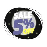 Verkoop 5% weg, de ontwerpsjabloon van de kortingsbanner, extra promomarkering, vectorillustratie vector illustratie