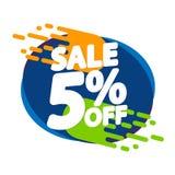 Verkoop 5% weg, de ontwerpsjabloon van de kortingsbanner, extra promomarkering, vectorillustratie stock illustratie