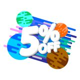 Verkoop 5% weg, de ontwerpsjabloon van de kortingsbanner, extra promomarkering, vectorillustratie royalty-vrije illustratie