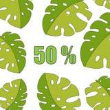 Verkoopbanner, affiche met palmbladen, wildernisblad Bloemen tropische de zomerachtergrond Vector illustratie EPS10 royalty-vrije illustratie