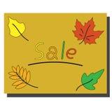 Verkoopbanner met heldere de herfstbladeren stock illustratie