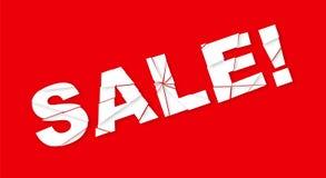 Verkoopbanner met verpletterde teksten op rode achtergrond Vector illustratie Royalty-vrije Stock Foto's