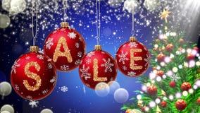Verkoopbanner op rode Kerstmisballen met ronde sneeuwvlok op bokehachtergrond 4K stock videobeelden