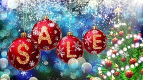 Verkoopbanner op rode Kerstmisballen met ronde sneeuwvlok op bokehachtergrond 4K stock video