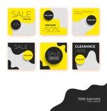 Verkoopbanners, malplaatjesinzameling voor sociale media postbevordering Geometrische vierkante achtergronden met tekstruimte stock illustratie