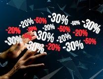 Verkoopbevordering 20% die 30% en 50% over een interface vliegen - Shopp Royalty-vrije Stock Foto's