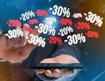 Verkoopbevordering 20% die 30% en 50% over een interface vliegen - Shopp Stock Afbeelding
