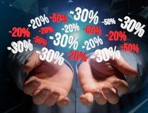 Verkoopbevordering 20% die 30% en 50% over een interface vliegen - Shopp Royalty-vrije Stock Foto