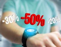 Verkoopbevordering 20% die 30% en 50% over een interface vliegen - Shopp Stock Afbeeldingen