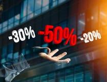 Verkoopbevordering 20% die 30% en 50% over een interface vliegen - Shopp Stock Fotografie