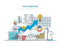 Verkoopbevorderingen Het richten, marktonderzoek, marketing, bedrijfs planning en analyse royalty-vrije illustratie