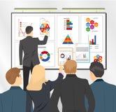 Verkoopdirecteur die businessplan voorleggen aan team Vlakke voorraadillustratie vector illustratie