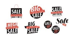 Verkoopembleem of etiket Winkelend, closeout, korting, goedkoop prijspictogram Vector illustratie stock illustratie