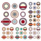 Verkoopetiketten met guilloche elementen in diverse kleuren Stock Foto