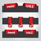 verkoopetiketten - rode kleur Stock Afbeeldingen