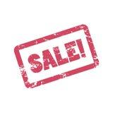 Verkoopinschrijving in rood kader Rubberzegelverkoop De illustratie van het verkoopwoord met verontrust effect stock illustratie