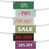 Verkoopmarkering en kortingen het winkelen markering Royalty-vrije Stock Foto's