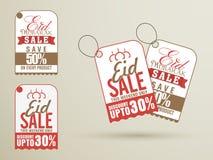 Verkoopmarkeringen voor Eid Mubarak-viering Stock Afbeeldingen