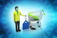 Verkoopmens met prijskaartje en het winkelen karretje Stock Afbeelding