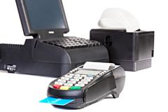 Verkooppuntsysteem voor Kleinhandels of Restaurant met het winkelen rekening stock afbeeldingen