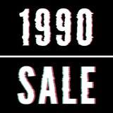 1990 Verkoopslogan, Holografische en glitch typografie, het grafische, gedrukte ontwerp van het T-stukoverhemd royalty-vrije stock foto's