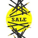 Verkoopsticker Gele achtergrond Potloden Vectorillustratie Stock Fotografie