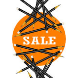 Verkoopsticker Oranje Achtergrond Potloden Vectorillustratie Royalty-vrije Stock Foto's