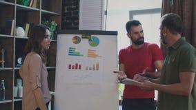 Verkoopteam die marketing plan op whiteboard in bureau bespreken Brainstormingsteam stock videobeelden