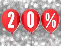 20% verkoopteken op rode ballons Stock Foto