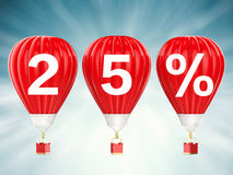 25% verkoopteken op roodgloeiende luchtballons Stock Afbeelding