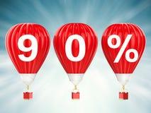 90% verkoopteken op roodgloeiende luchtballons Royalty-vrije Stock Foto's