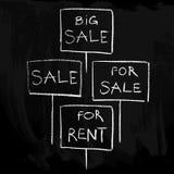 Verkooptekens op een bord/een reeks Royalty-vrije Stock Afbeelding