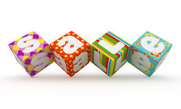 Verkoopwoord op kleurrijke stoffenkubussen op witte achtergrond 9 Royalty-vrije Stock Fotografie