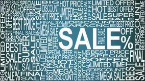 Verkoopwoorden Verkoop promotie Het concept van de opslagverkoop royalty-vrije illustratie
