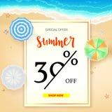 Verkopende advertentiebanner, uitstekend tekstontwerp De kortingen van de de zomervakantie, verkoopachtergrond van het zandige st royalty-vrije illustratie