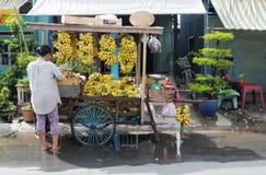 Verkoper die tropische vruchten verkopen royalty-vrije stock afbeeldingen