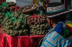 Verkoper die zijn kleine geroepen aardappels zien: Inheemse aardappels stock afbeeldingen