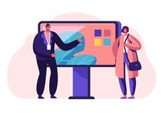 Verkoper Presenting aan de Techniek van de Klantentelevisie Nieuwe Slimme Technologieën, Consumentisme, Presentatie in Winkel, Ex stock illustratie