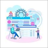 Verkopers aan het werk online bij computers en mobiele toepassingen, S vector illustratie