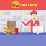 Verkopers snel voedsel en dienblad met kola, hamburger, frieten Stock Foto's