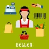 Verkopersconcept met het winkelen pictogrammen Royalty-vrije Stock Afbeelding