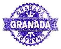 Verkratztes strukturiertes GRANADA-Stempelsiegel mit Band stock abbildung