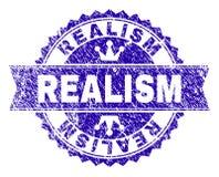 Verkratztes strukturiertes REALISMUS Stempelsiegel mit Band vektor abbildung