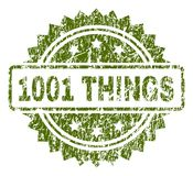 Verkratztes strukturiertes 1001 SACHEN Stempelsiegel lizenzfreie abbildung