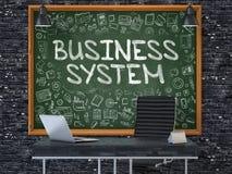 Verksamhetssystem - hand som dras på den gröna svart tavlan 3d Arkivbilder
