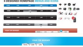 verktygslåda för formgivarehomepage-menyer Arkivfoton